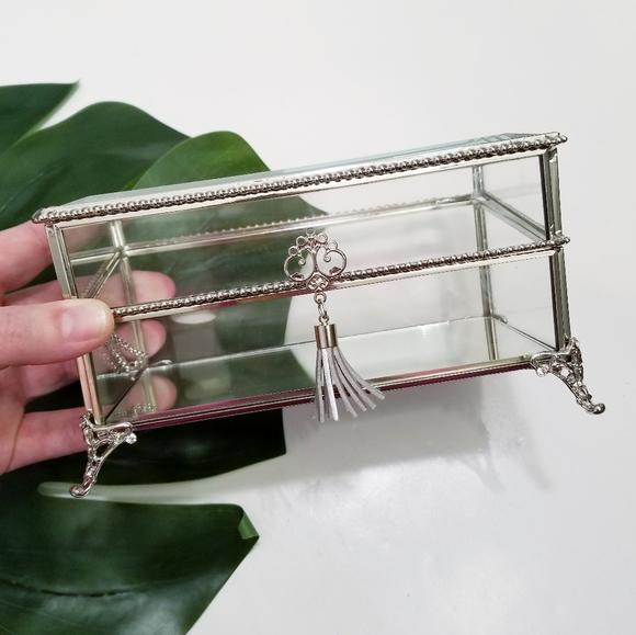 Ornate Mirrored Silver Glass Trinket Jewelry Box